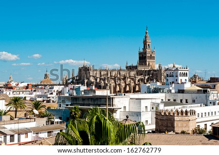 The Cathedral of Saint Mary of the See in Seville - stock photo