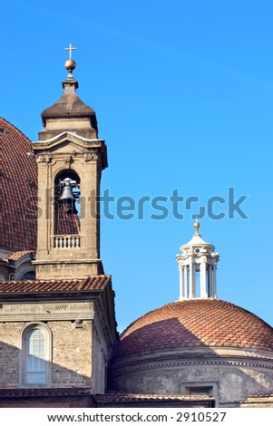 The Cathedral of San Lorenzo, Campanile. San Lorenzo Bell Tower Florence, Italy - stock photo