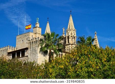the Cathedral of Santa Maria of Palma and Parc del Mar  Majorca, Spain - stock photo