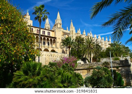 the Cathedral of Santa Maria of Palma and Parc del Mar  Majorca, Spain - stock photo