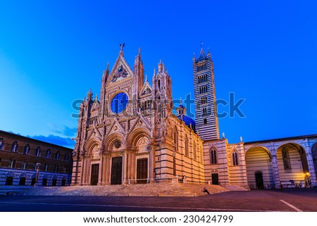 The Cathedral of Siena (Duomo di Siena) at twilight, Italy - stock photo