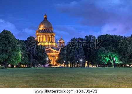 The Cathedral of St Isaac in Saint Petersburg, Russia at twilight. - stock photo