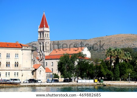 The Cathedral of St. Lawrence - landmark in Trogir, Croatia. Trogir is popular travel location and UNESCO World Heritage Site.