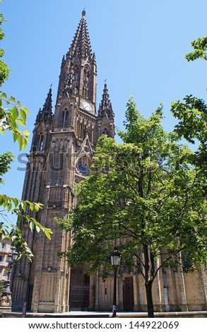 The Cathedral of the Good Shepherd on a sunny day in San Sebastian - stock photo