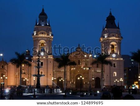 The cathedral on the Plaza Mayor (formerly known as the Plaza de Armas) in Lima, Peru - stock photo