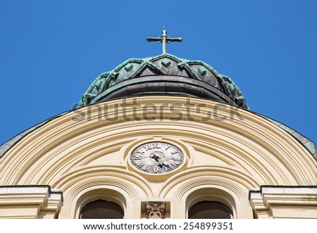 The cathedral St. Dimitar, Vidin. The second largest cathedral in Bulgaria after the St. Alexander Nevski cathedral in Sofia. - stock photo