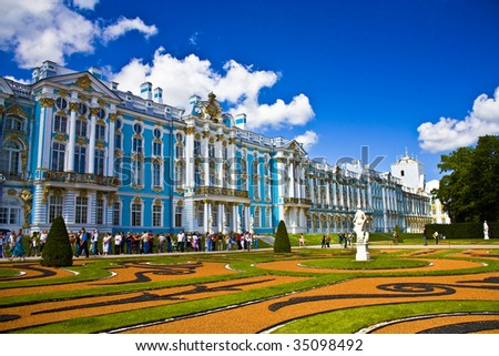 The Catherine Palace is the Rococo summer residence of the Russian tsars,  located in the town of Tsarskoye Selo (Pushkin), 25 km south-east of St. Petersburg, Russia.  - stock photo