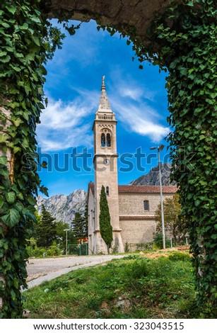 The Catholic Church Saint Eustace, Bay Of Kotor - stock photo