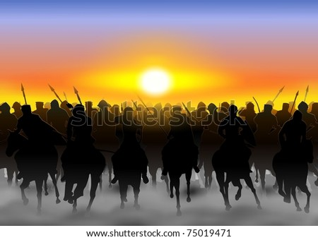 The cavalry rides in the fog, and dust on the background of the rising sun - stock photo