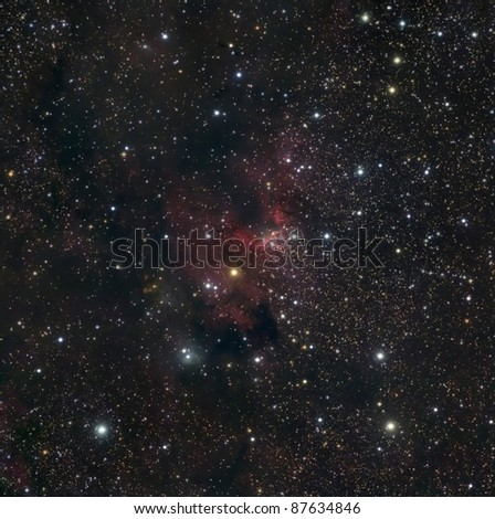 The Cave Nebula, a bright Nebula in Cepheus - stock photo