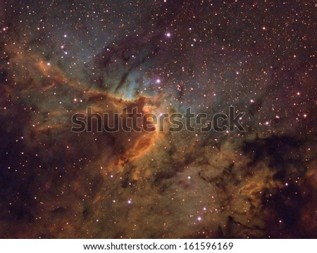 The Cave Nebula - Also known as SH2-155. This is a complex nebula containing emission reflection, and dark nebulae. It is about 2,400 light years away in the constellation Cepheus. - stock photo
