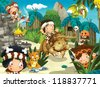 The cavemen - stone age - happy illustration for the children - stock photo