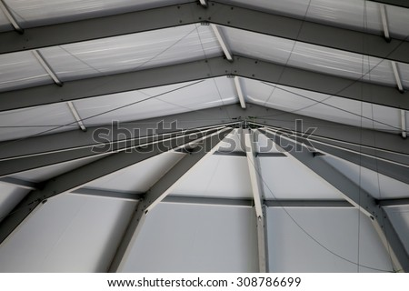 The Ceiling of the Truss Structure at the Construction site - stock photo