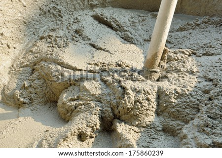 the cement mix in tray for bricklayer - stock photo