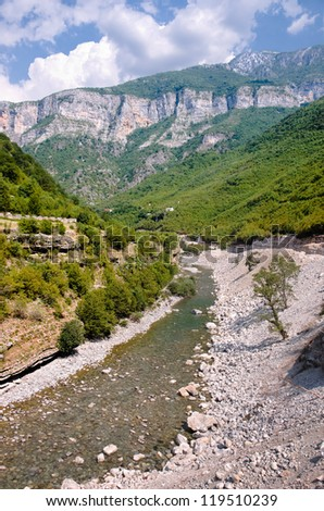 the Cemit river in the Kelmend Valley - stock photo
