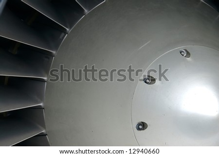 The center hub of a turbofan (jet) engine, a powerful symbol of industry, technology and progress