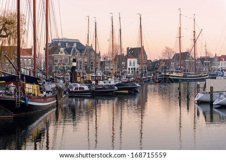 The center of Enkhuizen in sunset light, The Netherlands - stock photo