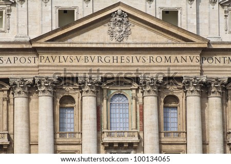 The central balcony of St. Peter's Basilica in Rome. - stock photo