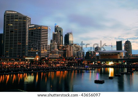 The Central Business District of Sydney at night