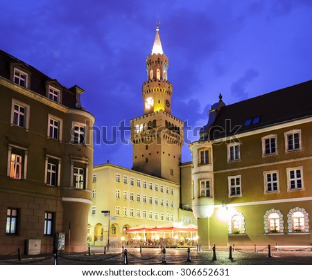 The central part of Opole city in the night - stock photo