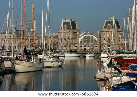 The central railway station in Oostende, Belgium