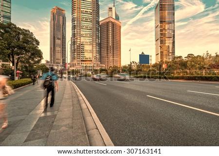 The century avenue of street scene in shanghai Lujiazui,China - stock photo