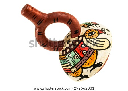 The ceramic stirrup-spout bottle was an important vessel among peoples on the Peruvian north coast from the second millennium B.C. onward - stock photo