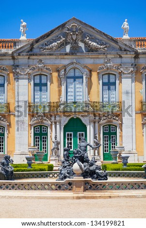The ceremonial facade of the corps de logis. Queluz National Palace, in the municipality of Sintra, Lisbon district, Portugal - stock photo