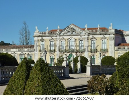 The ceremonial facade of the Queluz national palace in Portugal