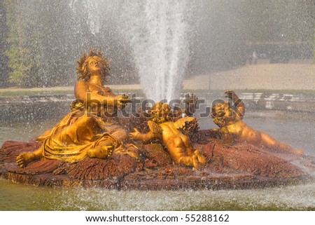 The Ceres (Roman Goddess of harvest and corn) fountain spraying water in Versailles Chateau. France - stock photo