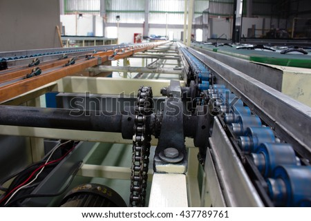 The chain and shaft drive  Line Conveyor - stock photo
