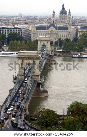 The Chain Bridge, Crossing the River Danube in Budapest, Hungary
