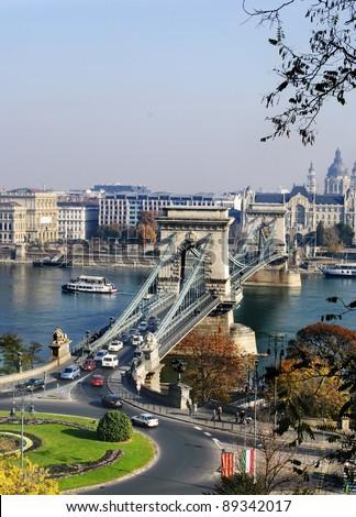 The Chain Bridge in Budapest, Hungary - stock photo