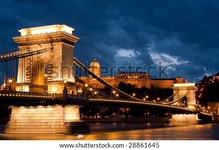 The Chain bridge in dusk, Budapest - stock photo