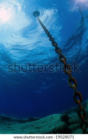 The chain of a buoy seen by a diver - stock photo