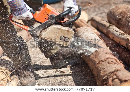 The chainsaw cutting the log of wood - stock photo
