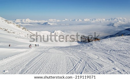 The chair lift and rope tow systems of Kaprun region, Austria - stock photo