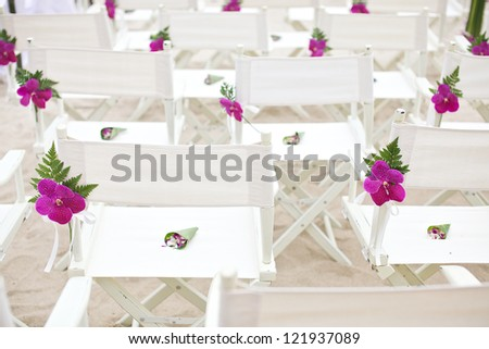 the chairs at the beach wedding - stock photo