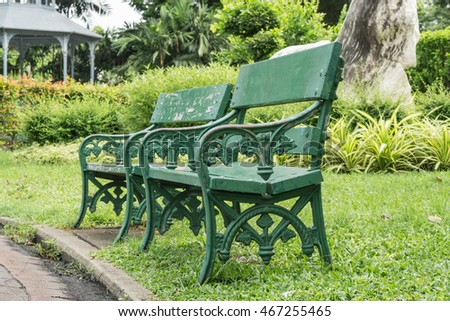 The chairs in the park.