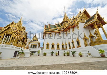 The Chakri Maha Prasat Throne Hall / The Middle Court of Grand Palace of Thailand - stock photo