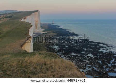 The chalk cliffs of Beachy head at sunset, UK