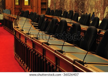 The chamber in the historic parliament building (built in 1893) at victoria downtown, british columbia, canada - stock photo