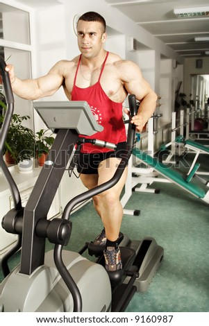 The champion in a fitness center. - stock photo