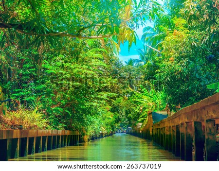 The channel in Thailand - stock photo