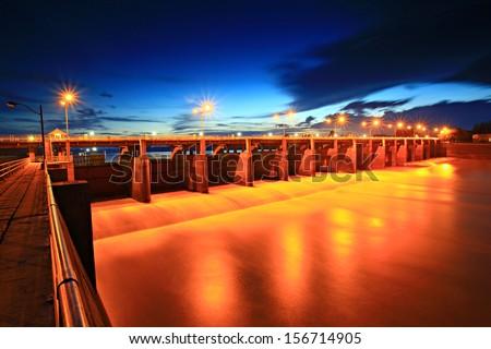 The Chao Phraya Dam in Sapphaya District, Chainat, Thailand.  - stock photo