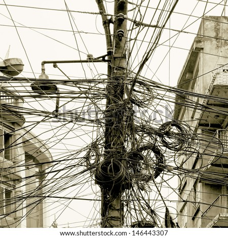 The chaos of cables and wires in Kathmandu - Nepal