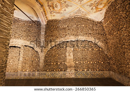 The Chapel of Bones (Capela dos Ossos) is one of the best known monuments in Evora, Portugal  - stock photo