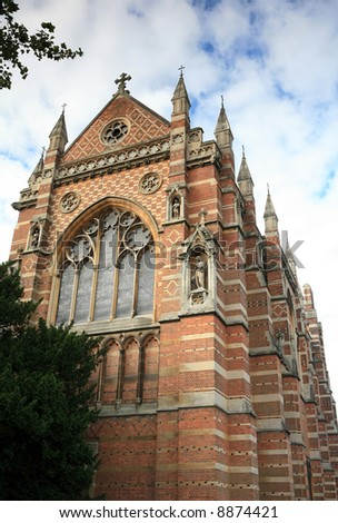 The chapel of Keble College, Oxford - part of Oxford University - seen from the adjacent park. - stock photo