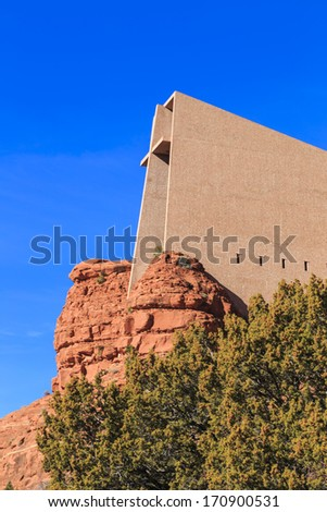 The Chapel of the Holy Cross is a Roman Catholic chapel built into the buttes and red rocks of Sedona, Arizona - stock photo
