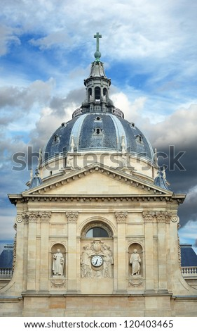 The Chapelle de la Sorbonne is a large chapel built in the early 17th century by order of cardinal Richelieu in Paris, France. - stock photo